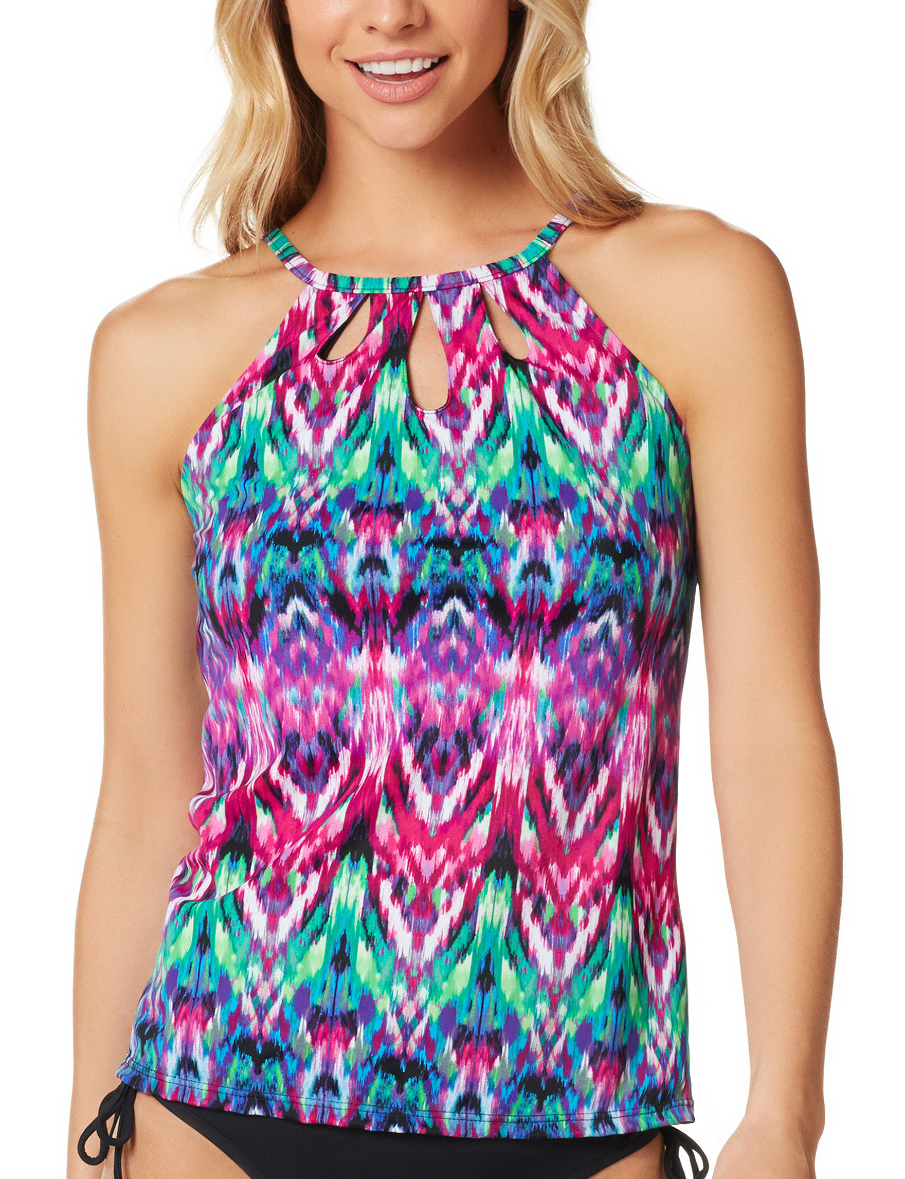 Caribbean Joe Blue Multi Swimsuit Tops High Neck Tankini