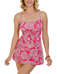 Penbrooke Lady Lace Paisley Print Empire Swim Dress