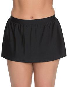 Beach Diva Plus-size Black Skirtini Swim Bottoms
