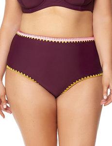 Jessica Simpson Merlot Swimsuit Bottoms Hi Waist
