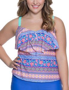 Polka Dot Blue Multi Swimsuit Tops Tankini