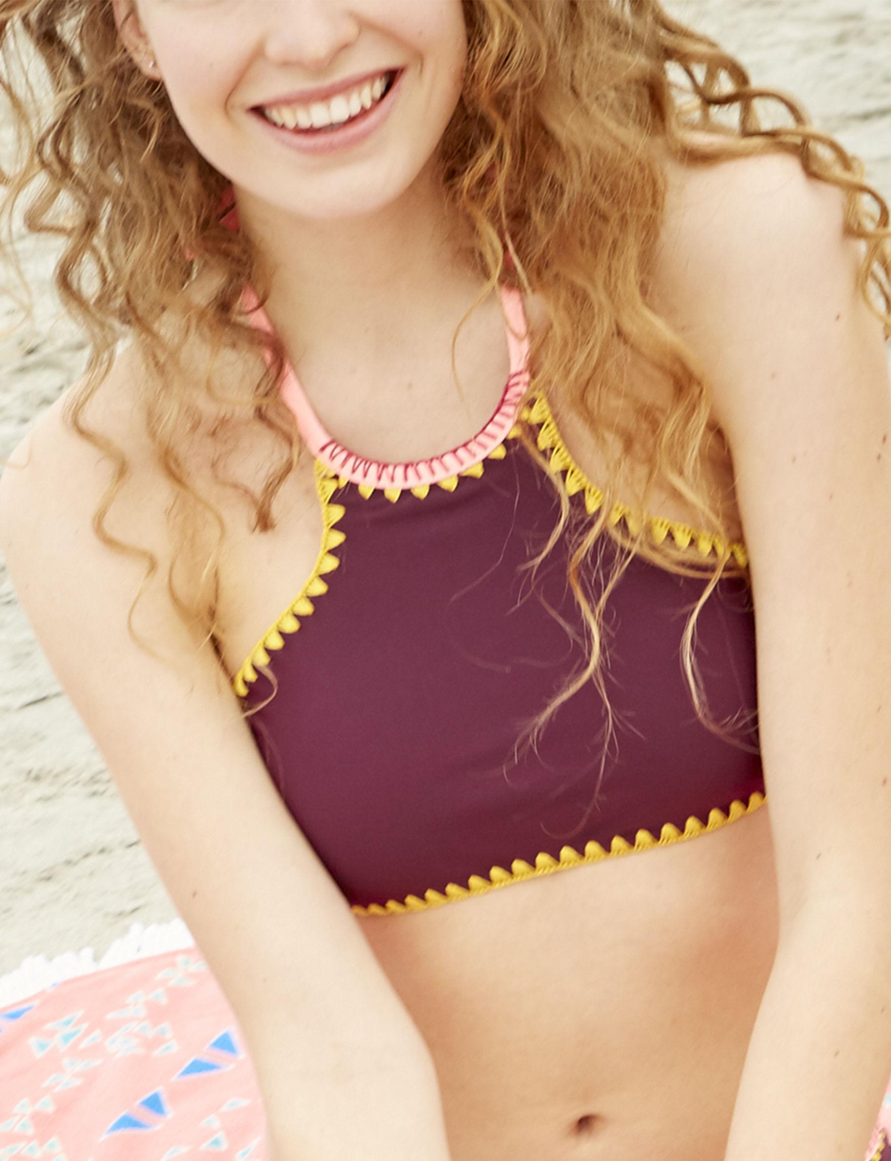 Jessica Simpson 07 Red Swimsuit Tops High Neck Tankini