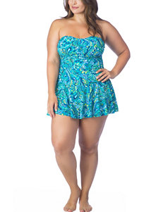 Chaps Blue One-piece Swimsuits Tankini