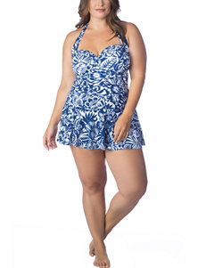Chaps Plus-size Jungle Floral One-Piece Swim Dress