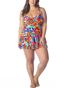 Chaps Plus-size Tropical Floral One-Piece Swim Dress