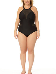 In Mocean Juniors-plus Mesh Accent One-Piece Swimsuit