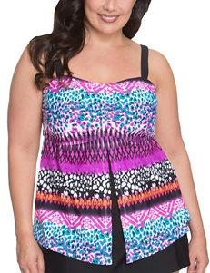 Beach Diva Black / White Stripe Swimsuit Tops Tankini