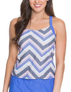 Splashletics Blue Multi Swimsuit Tops Tankini