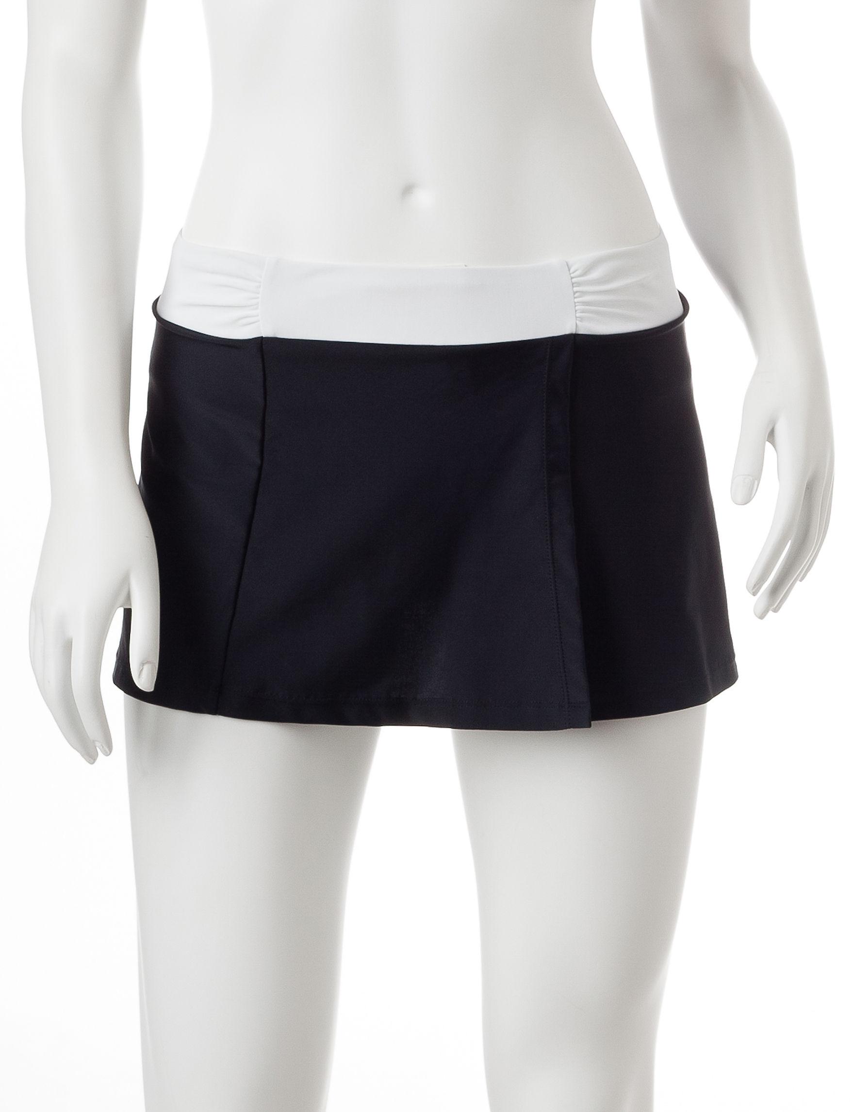 Free Country Black / White Swimsuit Bottoms Skirtini