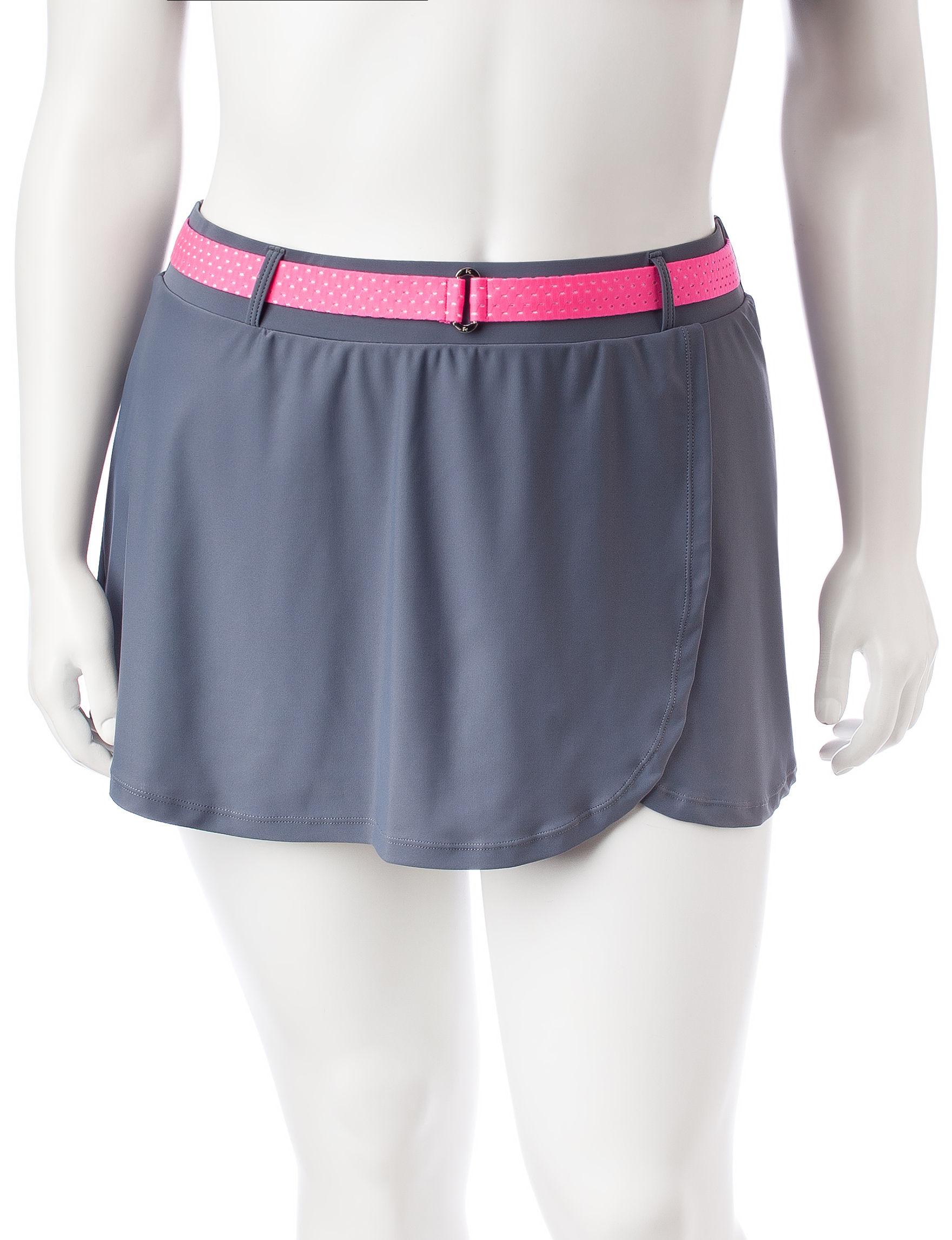 Free Country Grey / Pink Swimsuit Bottoms Boyshort