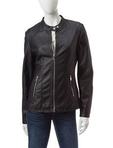 Valerie Stevens Faux Leather Moto Jacket