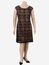 Connected Black Lace Sheath Dress – Plus-sizes