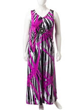 Lennie Plus-size Medallion Brush Print Maxi Dress