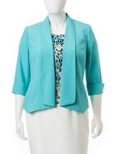 Kasper Plus-size Solid Color Crepe Jacket