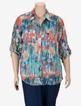Gloria Lance 2-pc. Multicolor Floral Print Chiffon Top Set – Plus-sizes