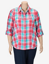 Alia Textured Plaid Blouse – Plus-sizes