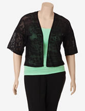Ruby Rd. Pop Spots Black Leopard Open Knit Crop Cardigan – Plus-sizes