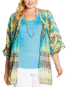 NY Collection Tonal Blue & Green Abstract Print Layered-Look Kimono Top – Plus-sizes