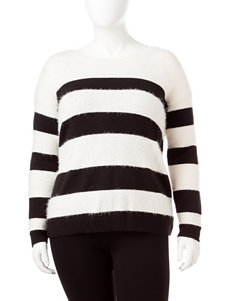 DKNY Jeans Plus-size Cream & Black Striped Sweater