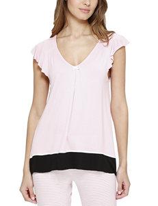 Ellen Tracy Pink / White Pajama Tops