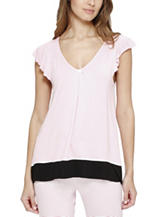 Ellen Tracy Contrast Trim Flutter Sleep Pajama Top