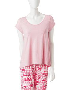 Hue Plus-size Pink Lady Lace Trim Pajama Top
