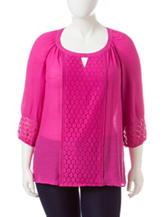 Valerie Stevens Plus-size Solid Color Lace Accent Peasant Top