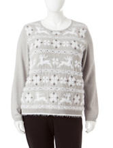 Alfred Dunner Plus-size Reindeer Fairisle Sweater
