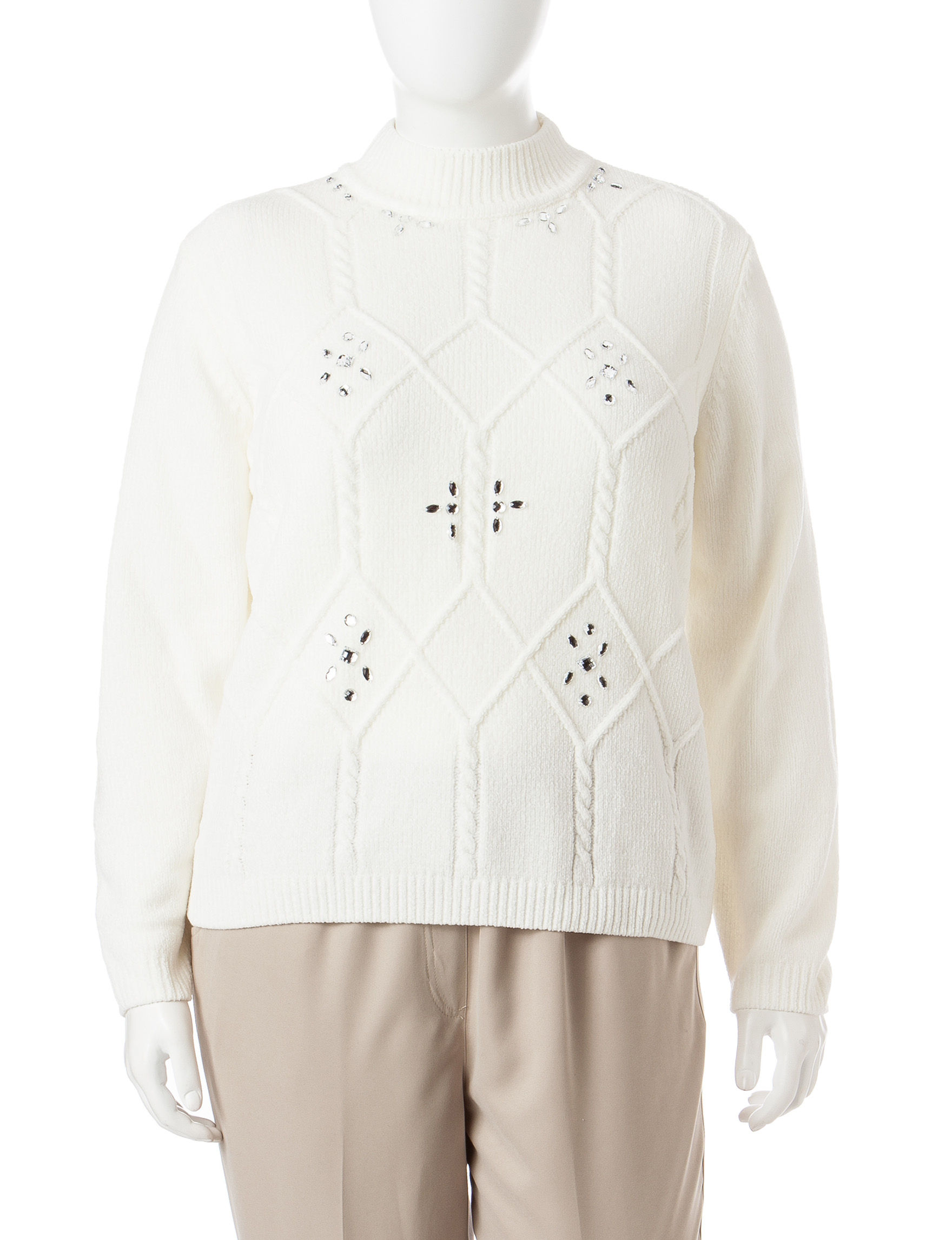 Pebble Beach Polo >> Alfred Dunner Plus-size Diamond Cable Chenille Sweater | Stage Stores