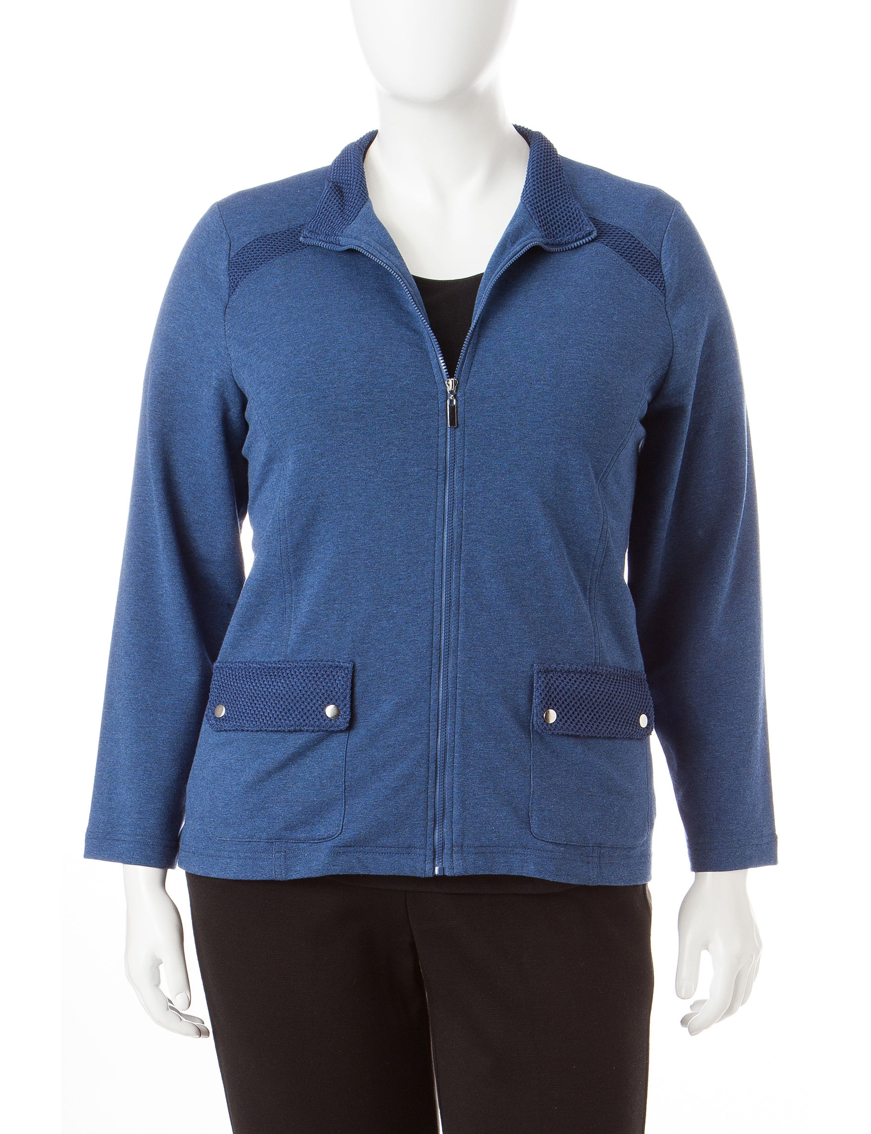 Alfred Dunner Heather Denim Fleece & Soft Shell Jackets