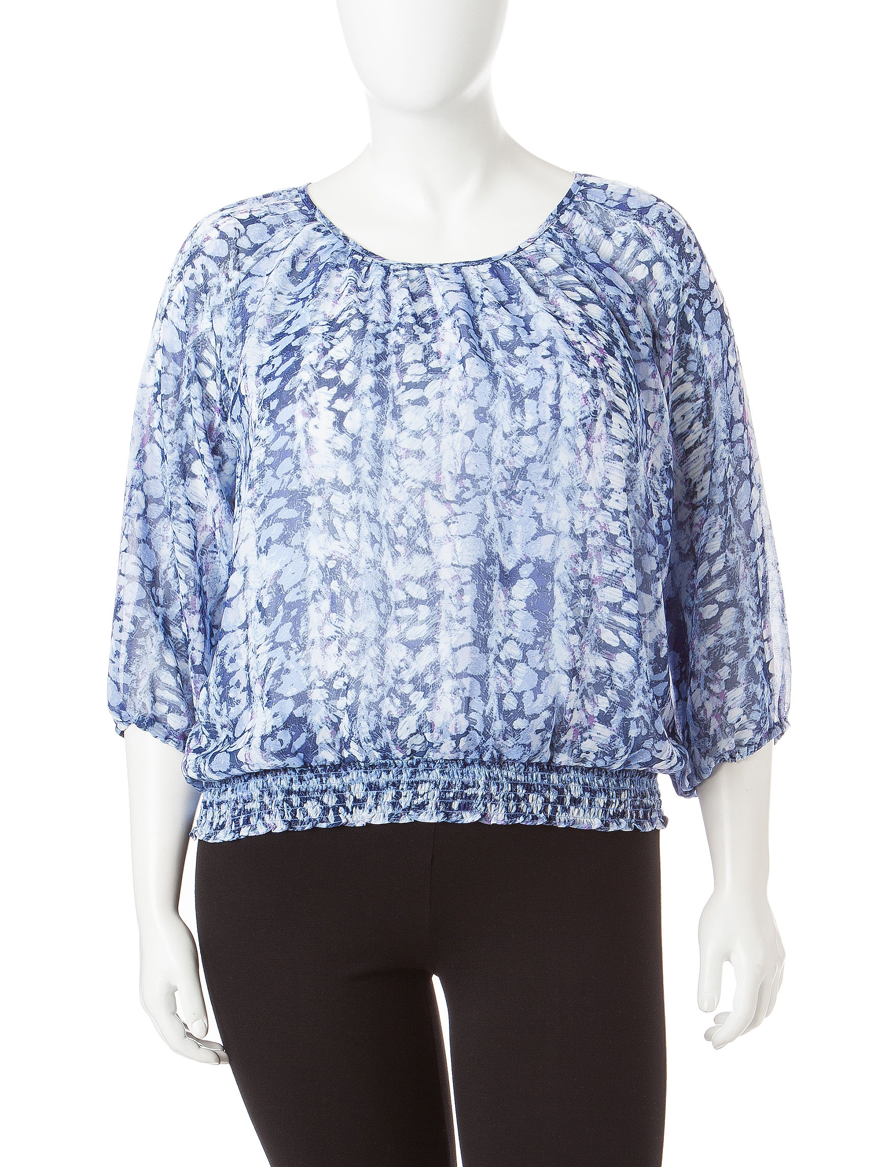 Cathy Daniels Blue Combo Shirts & Blouses