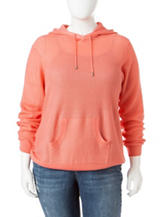Cathy Daniels Plus-size Solid Color Hooded Sweater