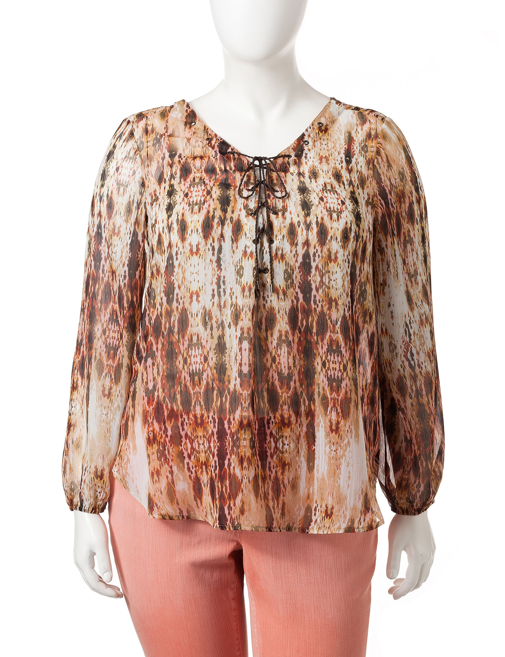 Jessica Simpson Brown Multi Shirts & Blouses