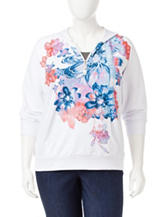 Cathy Daniels Plus-size Floral Print Pullover Hooded Jacket