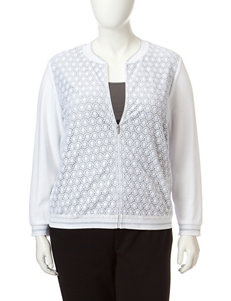 Alfred Dunner Plus-size Solid Color White Lace Front Jacket