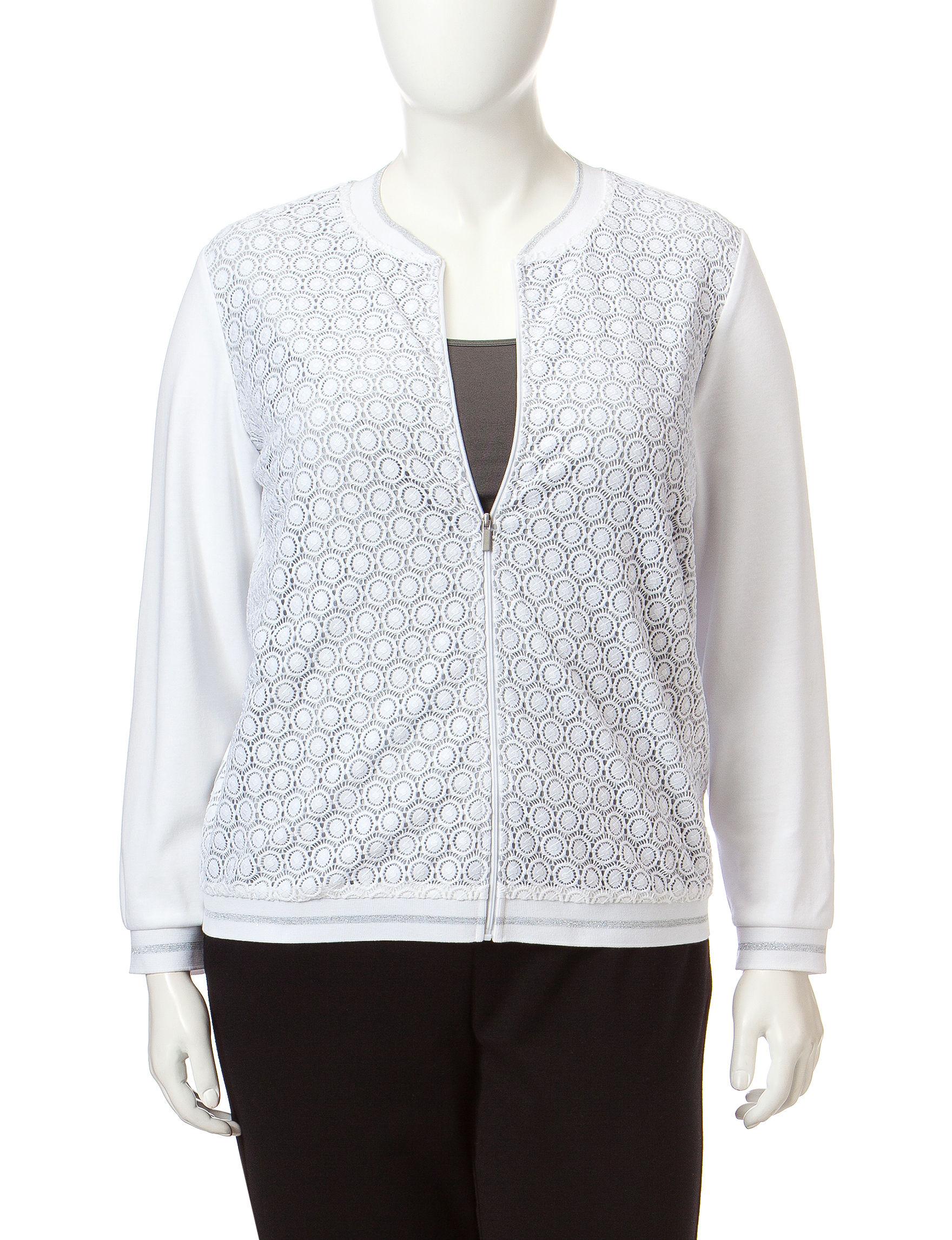 Alfred Dunner White / Grey Lightweight Jackets & Blazers