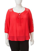 Figuero & Flower Plus-size Solid Color Red Lace Peasant Top