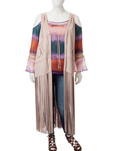 Jessica Simpson Plus-size Tasmania Faux Suede Fringe Vest