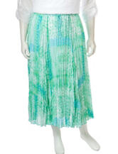 Ruby Rd. Plus-size Watercolor Print Broomstick Skirt