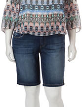 Jessica Simpson Plus-size Dark Denim Wash Bermuda Shorts