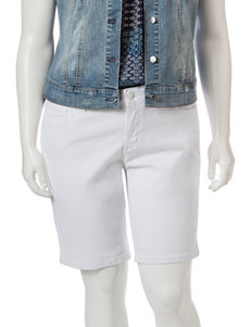 Jessica Simpson Plus-size Solid Color White Bermuda Shorts