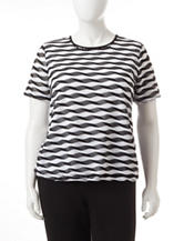 Alfred Dunner Plus-size Striped Mesh Knit Top