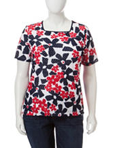 Alfred Dunner Plus-size Abstract Daisy Print Textured Knit Top
