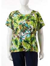 Rebecca Malone Plus-size Tropical Leaf Print Knit Top
