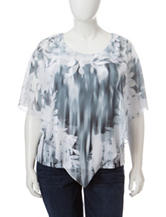 Energe Plus-size Floral Print Chiffon Overlay Top