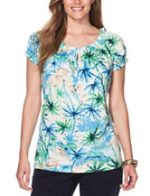 Chaps Plus-size Palm Tree Print Knit Top