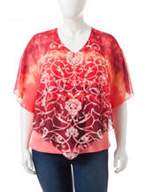 Rebecca Malone Plus-size Scroll Print Layered-Look Top