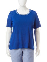 Cathy Daniels Plus-size Embellished Burnout Linen Top