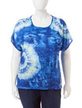 Cathy Daniels Plus-size Embellished Tie Dye Print Top
