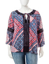Jessica Simpson Plus-size Alaya Abstract Print Peasant Blouse
